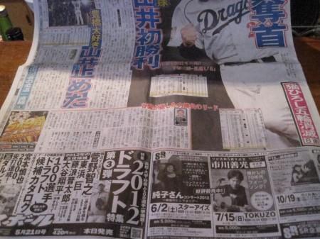 中日スポーツ紙面